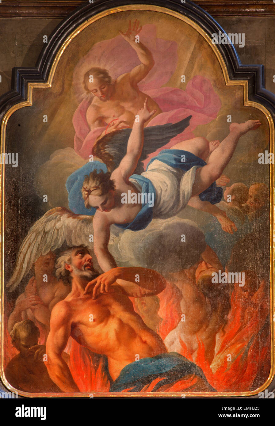 VIENNA, AUSTRIA - FEBRUARY 17, 2014: The paint of liberation of the soul form purgatory in baroque st. Annes church. - Stock Image