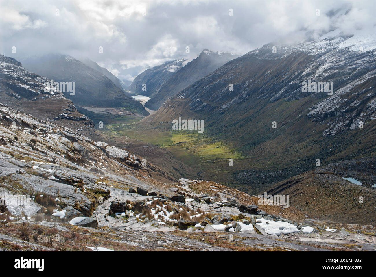 Peru - Look from valley of Cordillera Blanca in the Andes from the trek of santa Cruz. - Stock Image