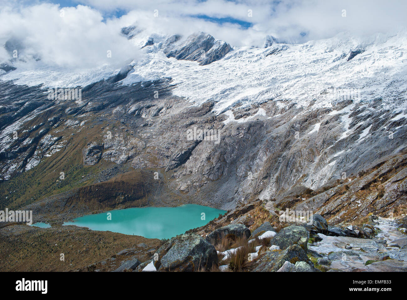 Peru - Look from Cordillera Blanca in the Andes from the trek of santa Cruz - Lagunas Morococha. - Stock Image
