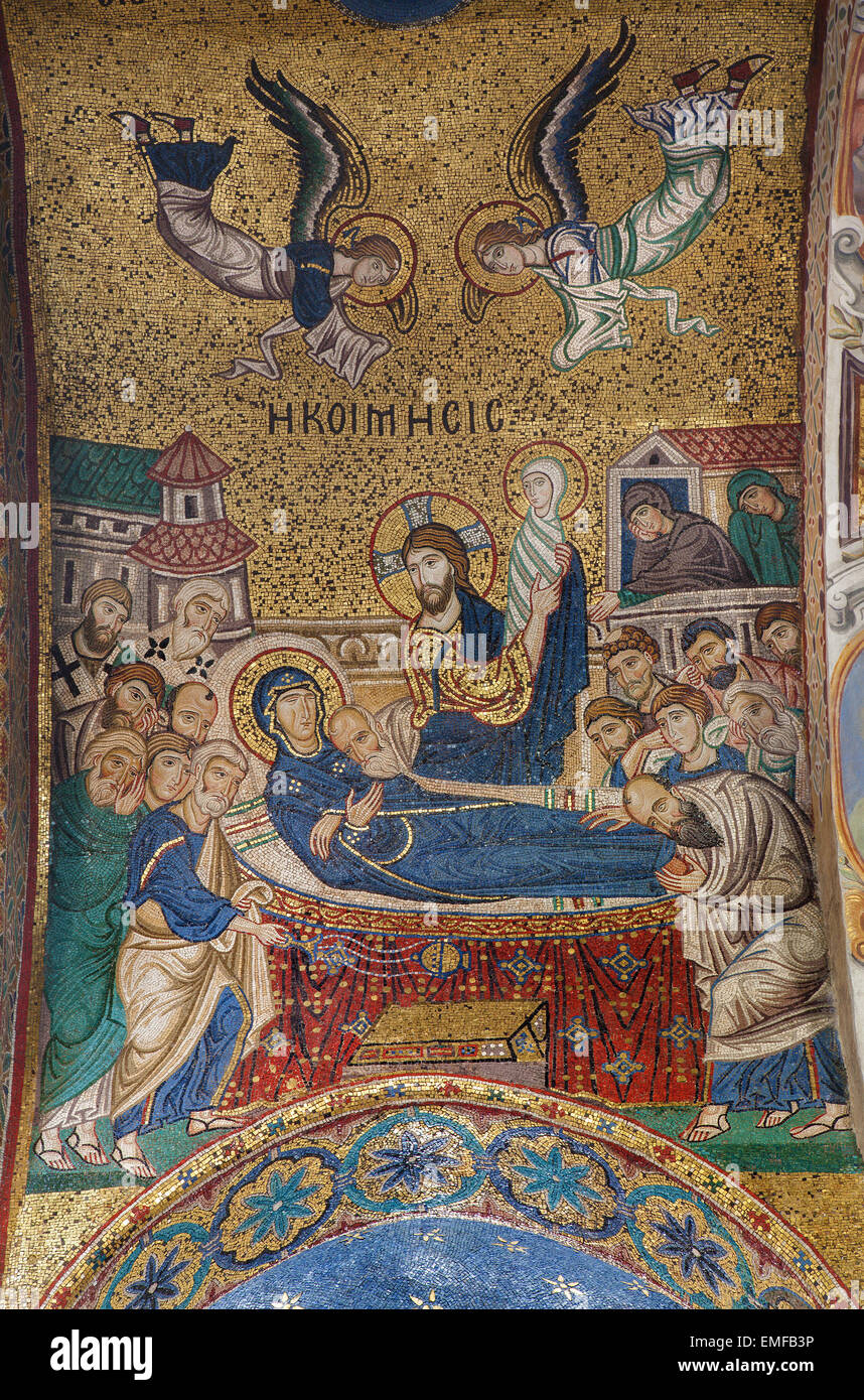 PALERMO - APRIL 8: mosaic of Holy Mary death on ceiling from Church of Santa Maria dell' Ammiraglio or La Martorana - Stock Image