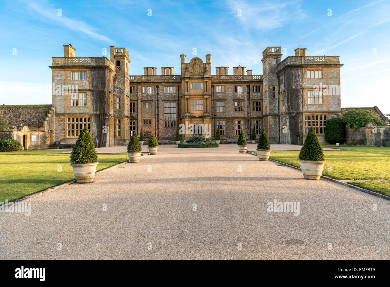 Eynsham Hall Hotel is a country house hotel in a Georgian Manor House in North Leigh, Witney, Oxfordshire, UK - Stock Image