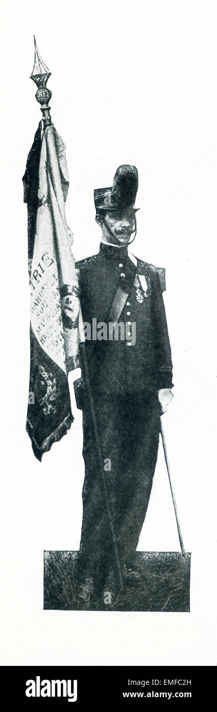 This photo shows a French standard bearer of the Turcos. The offical name of the Turcos was Tirailleur, and these - Stock Image
