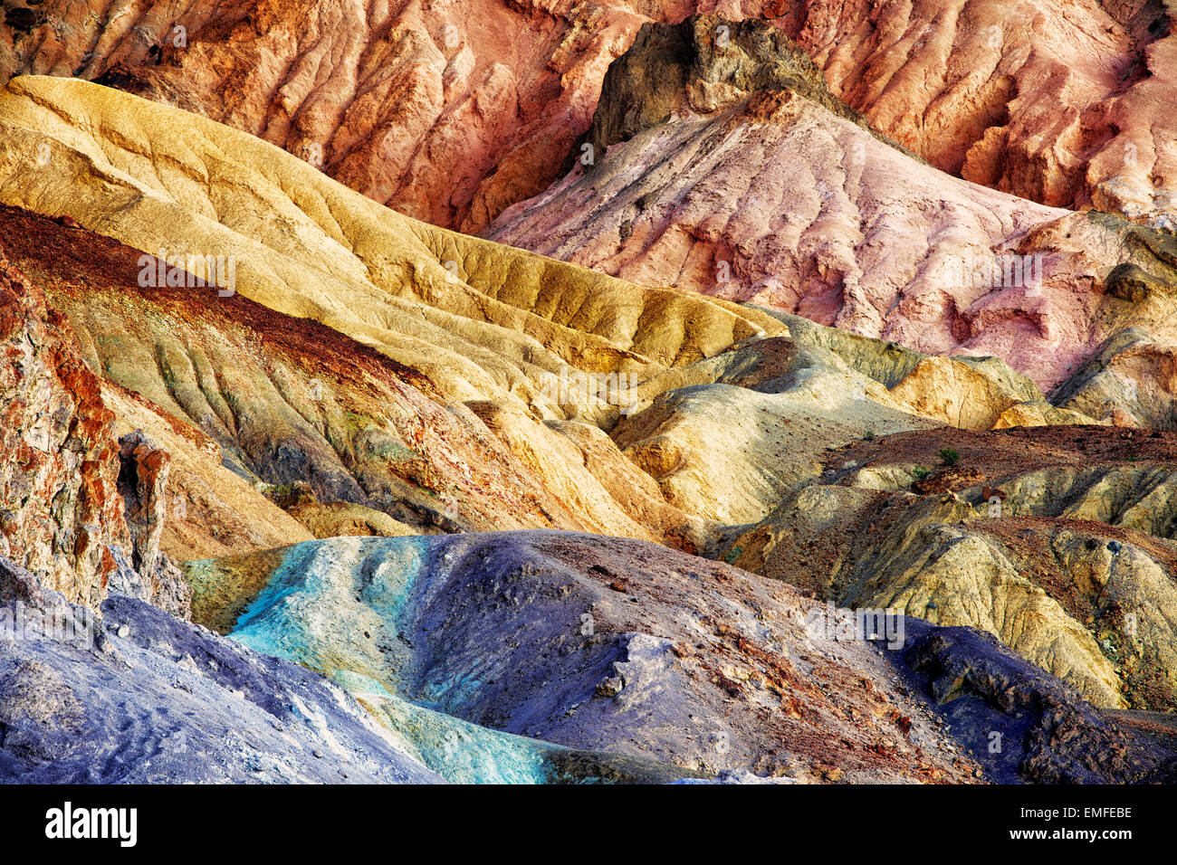 The oxidation of many different metals created the Artist Palette in California's Death Valley National Park. - Stock Image