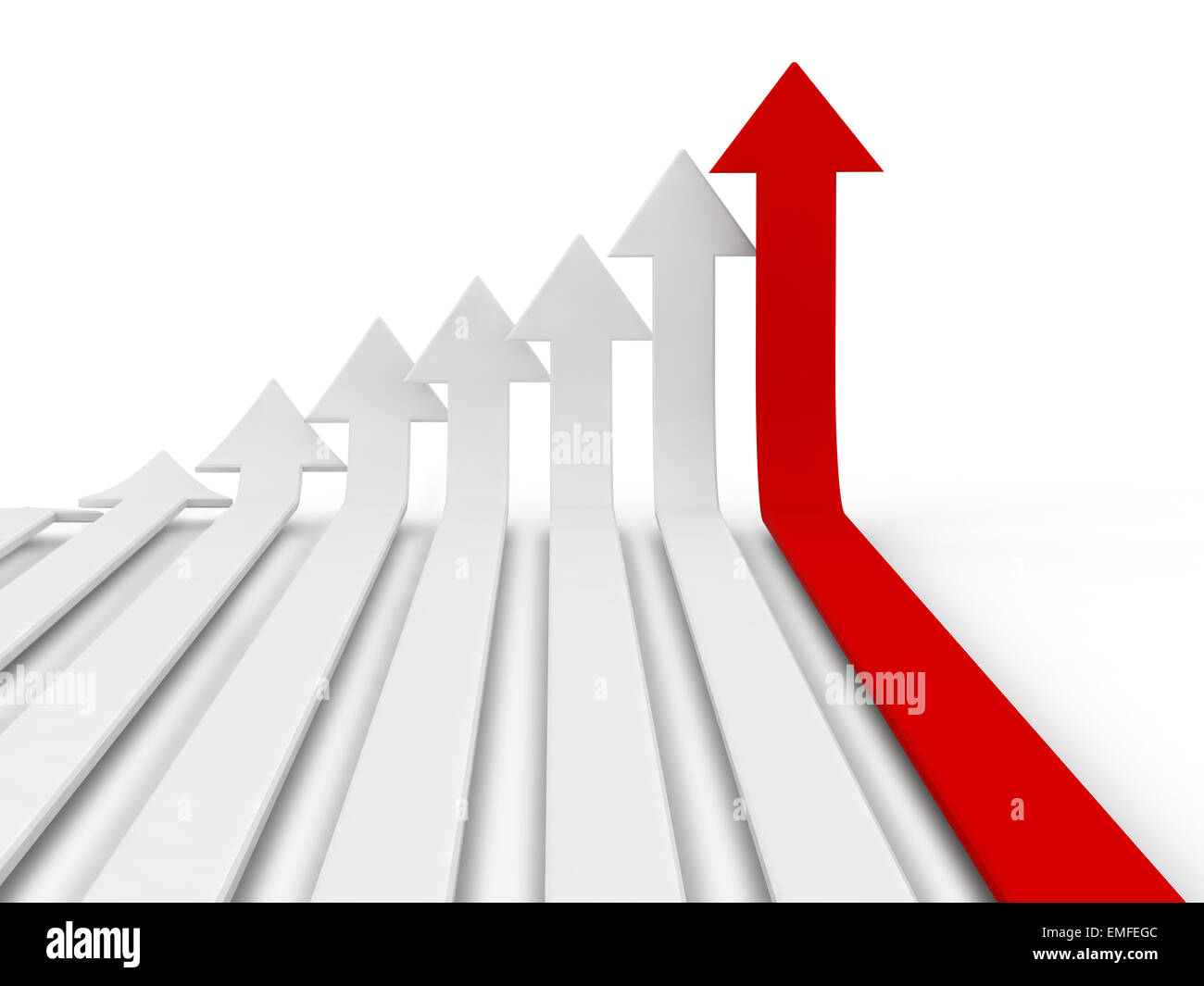 A red arrow sign placed observably in a pile of white arrow signs. - Stock Image