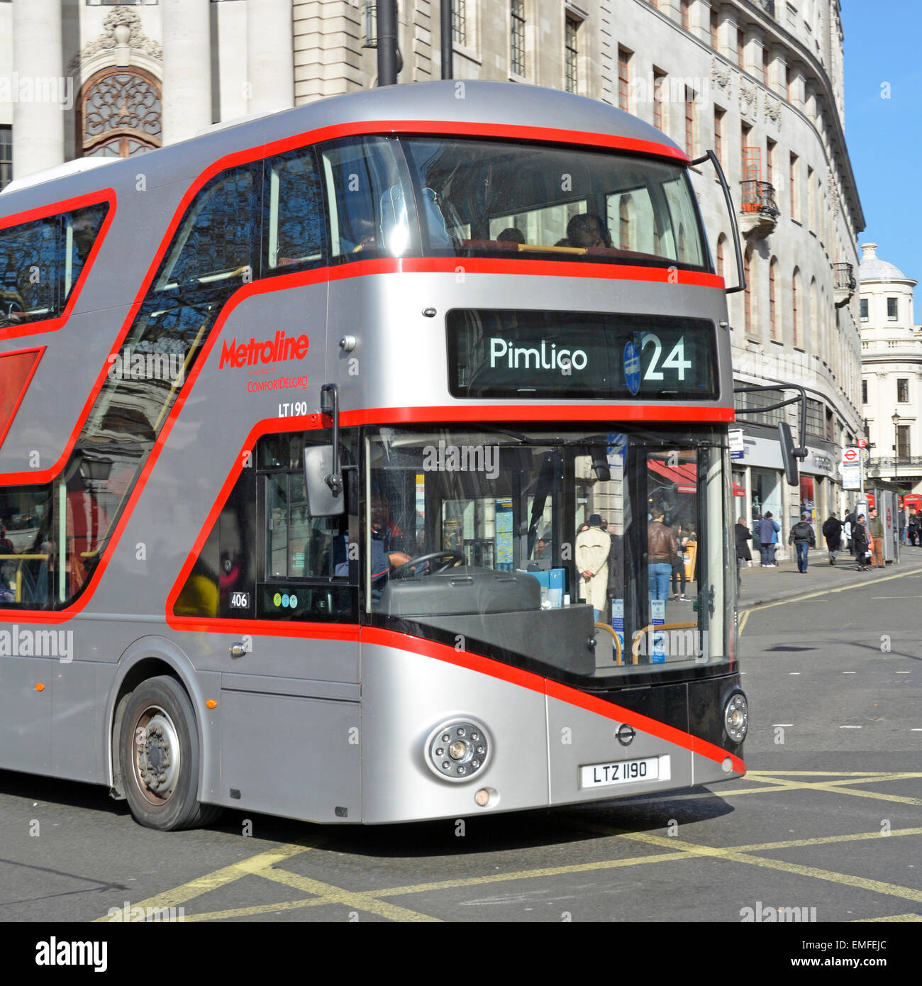 Silver edition of new London Routemaster Boris bus operated by Metroline on route 24 running to Pimlico London England - Stock Image