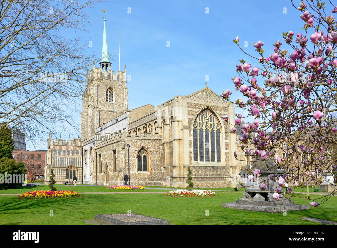 Chelmsford Church of England Cathedral and churchyard Essex England UK - Stock Image