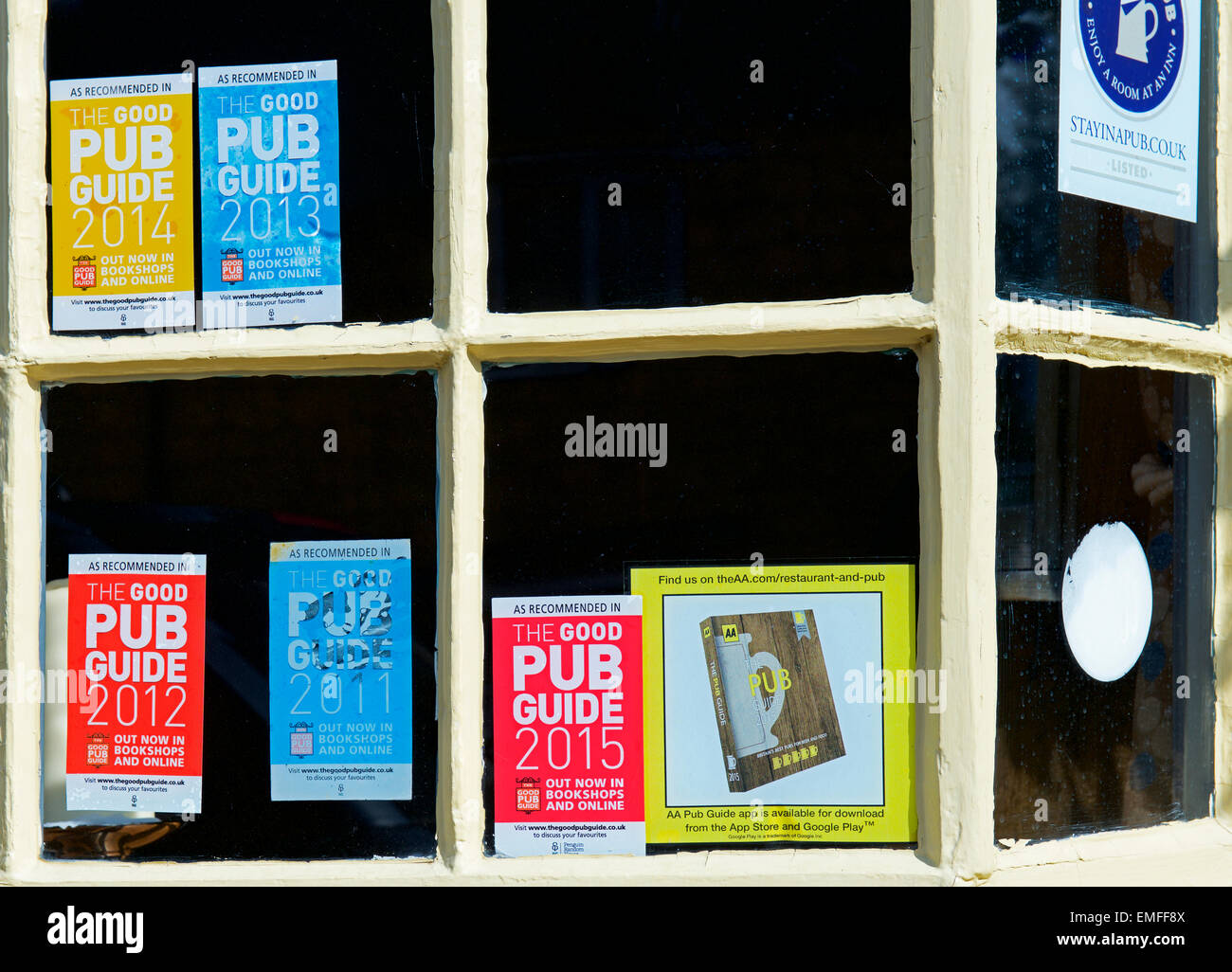 Window of Eight Bells pub, Chipping Campden, Gloucestershire, England UK, with accolades from the Good Pub Guide - Stock Image