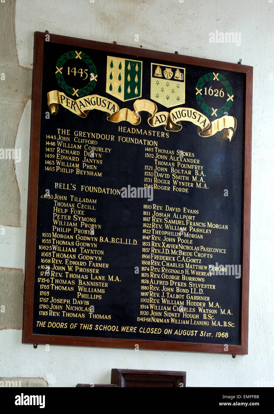 Bell`s Grammar School headmasters board, All Saints Church, Newland, Forest of Dean, Gloucestershire, England, UK Stock Photo