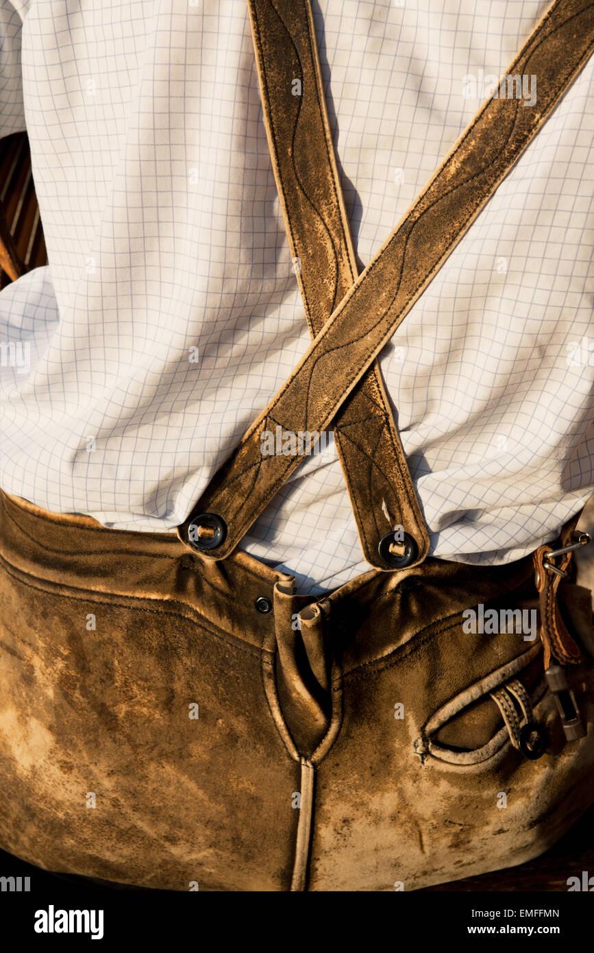 man in Lederhosen, Altaussee, Styria, Austria - Stock Image