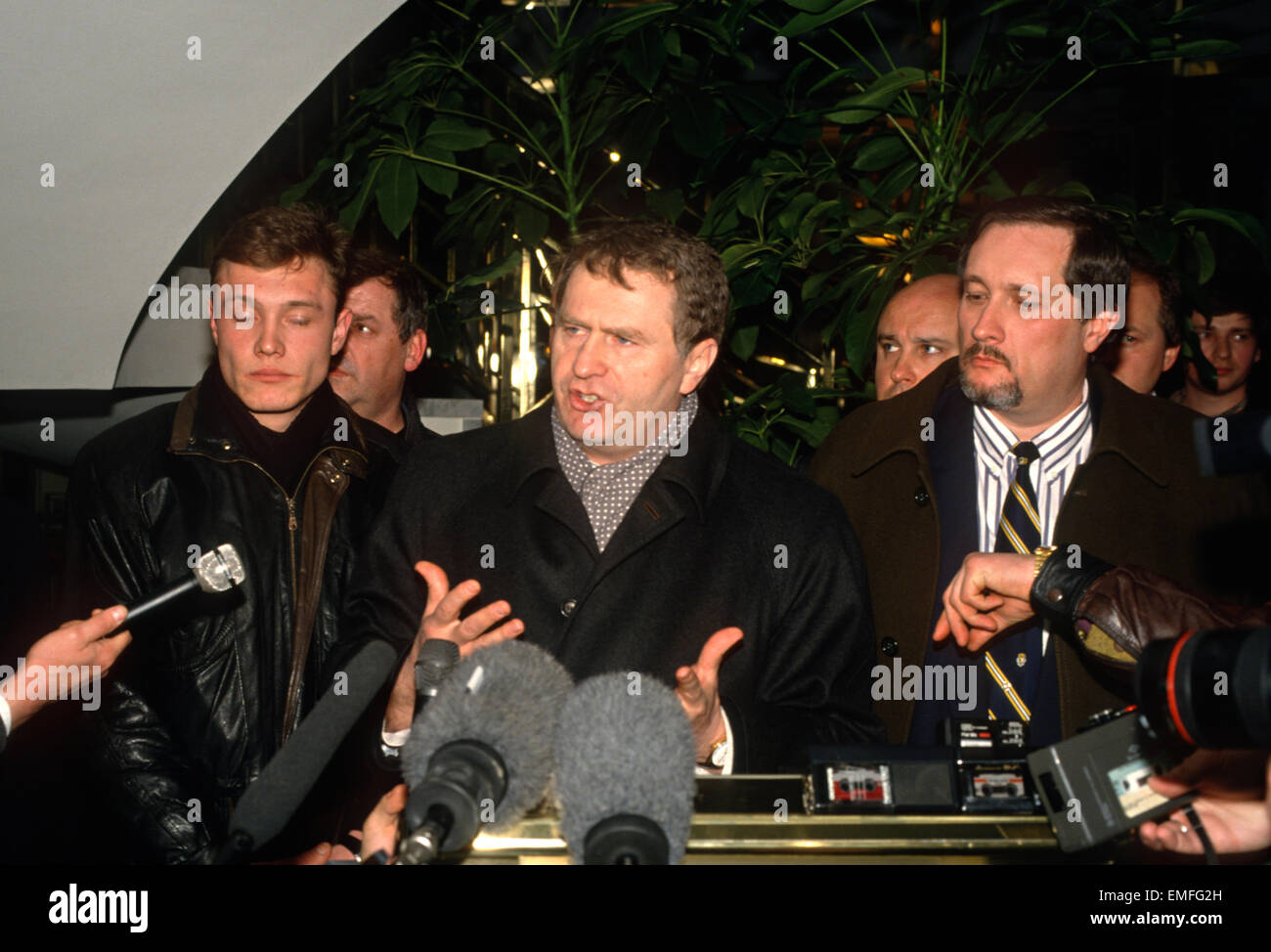 Russian ultra nationalist politician Vladimir Zhirinovsky during a press conference March 5, 1994 in Moscow, Russia. - Stock Image