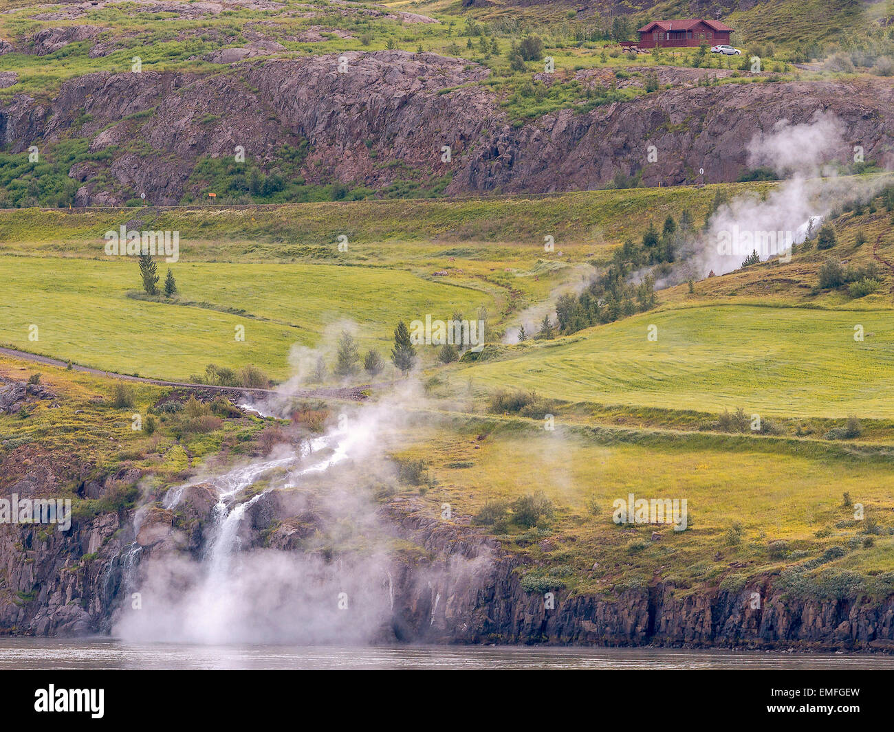 Steaming River Flowing Into The  Sea Akureyri Iceland - Stock Image