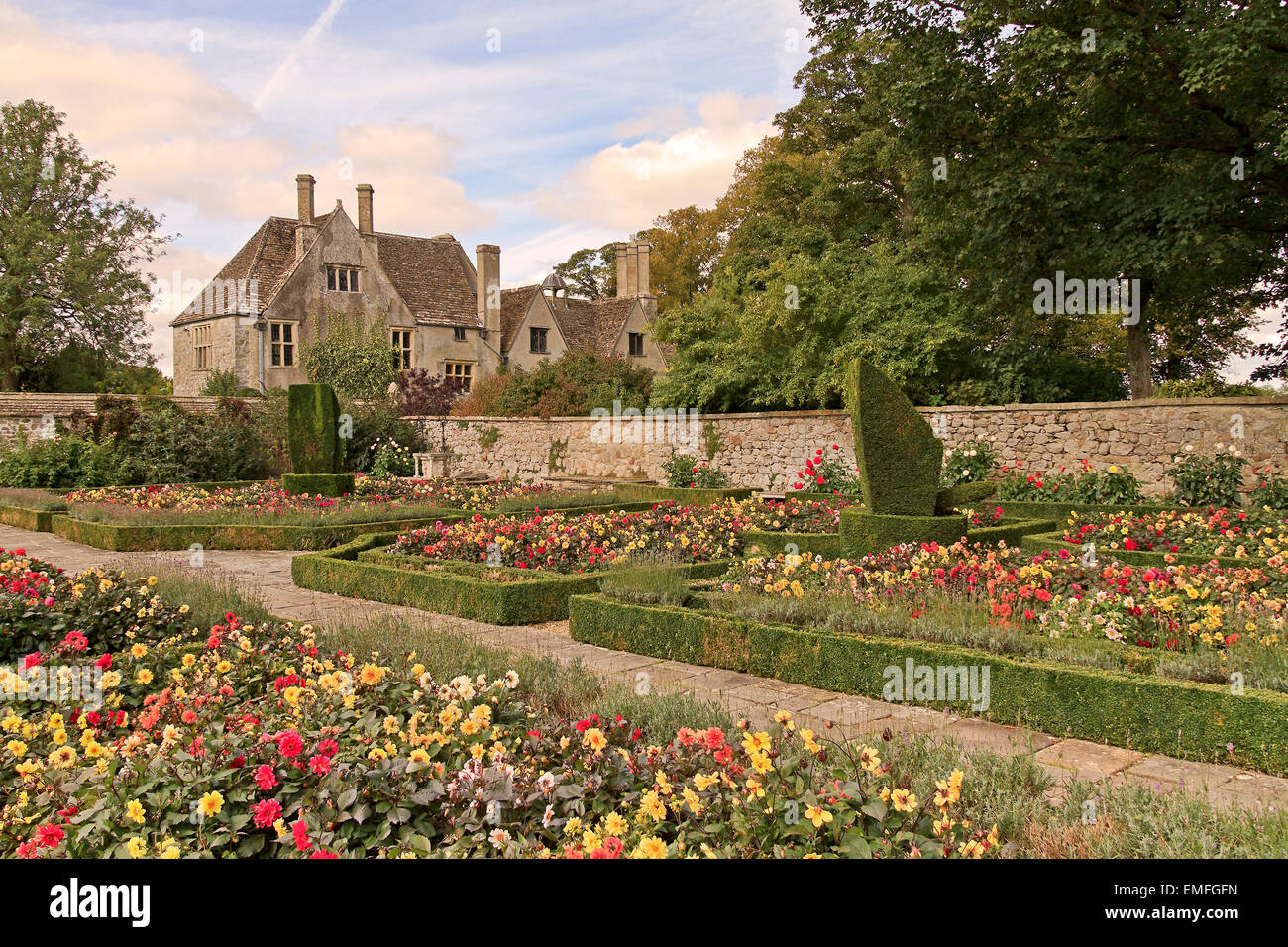 UK Wiltshire Avebury Enclosed Garden   Stock Image