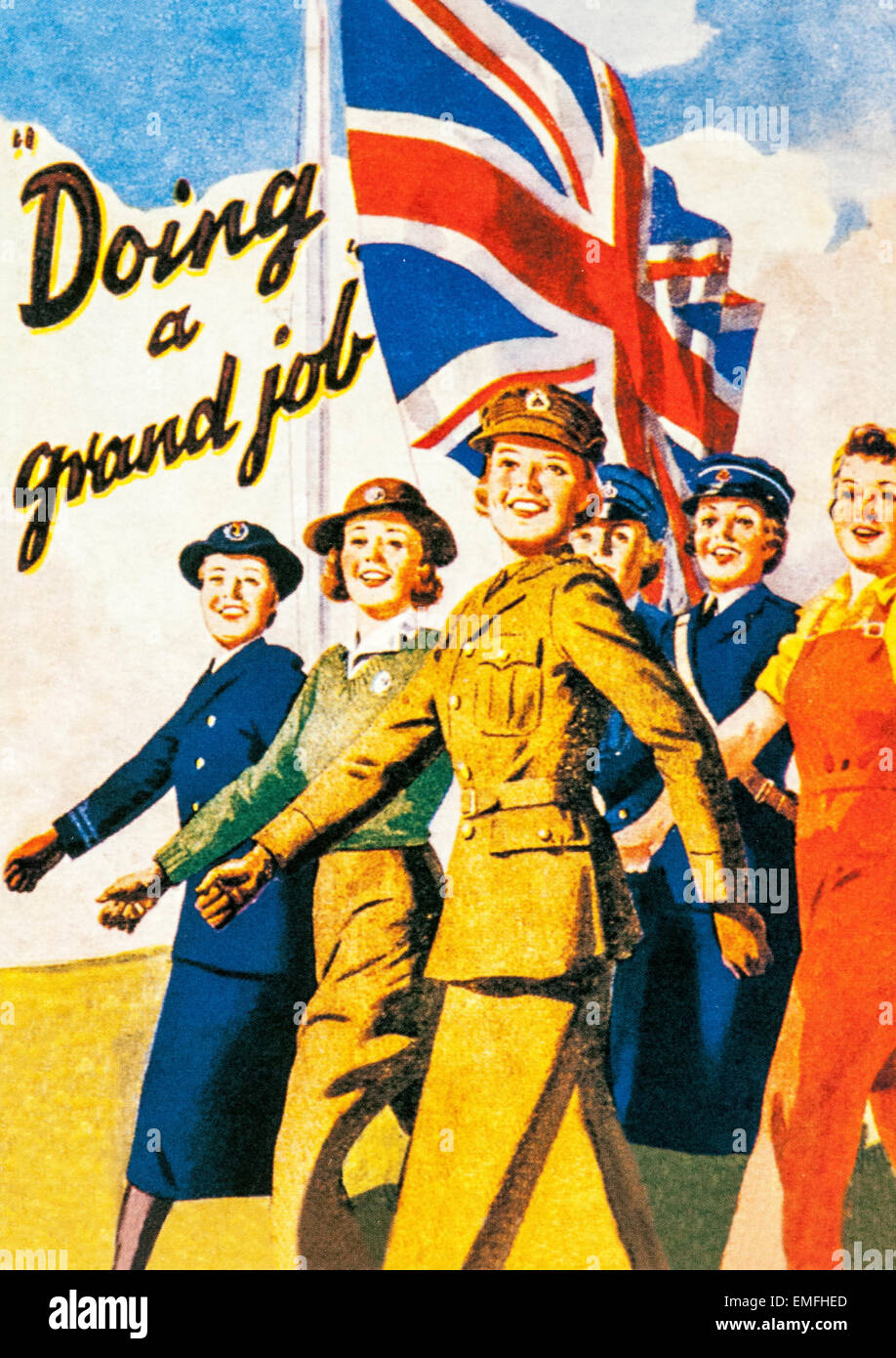 A World War 2 poster praising the importance of women - Stock Image