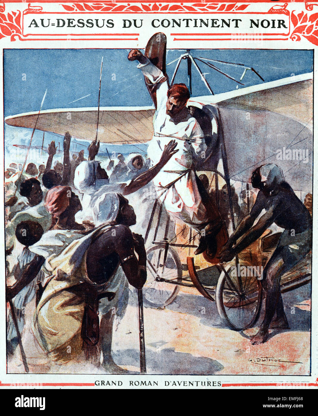 Daredevil Pilot Stunt Man or Aviator Attached to Early Flying Machine or Airplane or Aeroplane in Africa 1911. Book - Stock Image