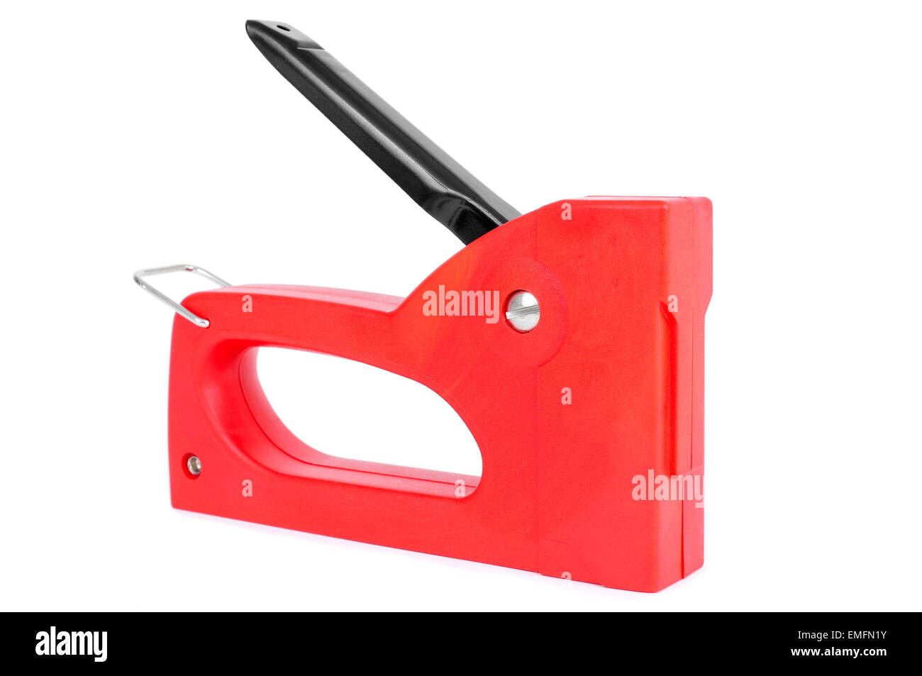 a red manual staple gun isolated on a white background - Stock Image