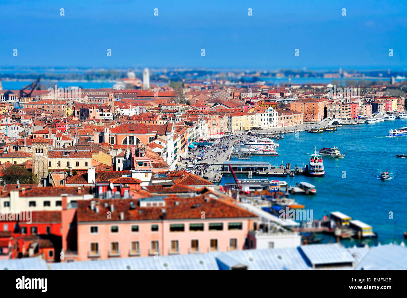 tilt-shift photography of the Castelo Sestieri in Venice, Italy, and the lagoon, with the vaporetto stops - Stock Image