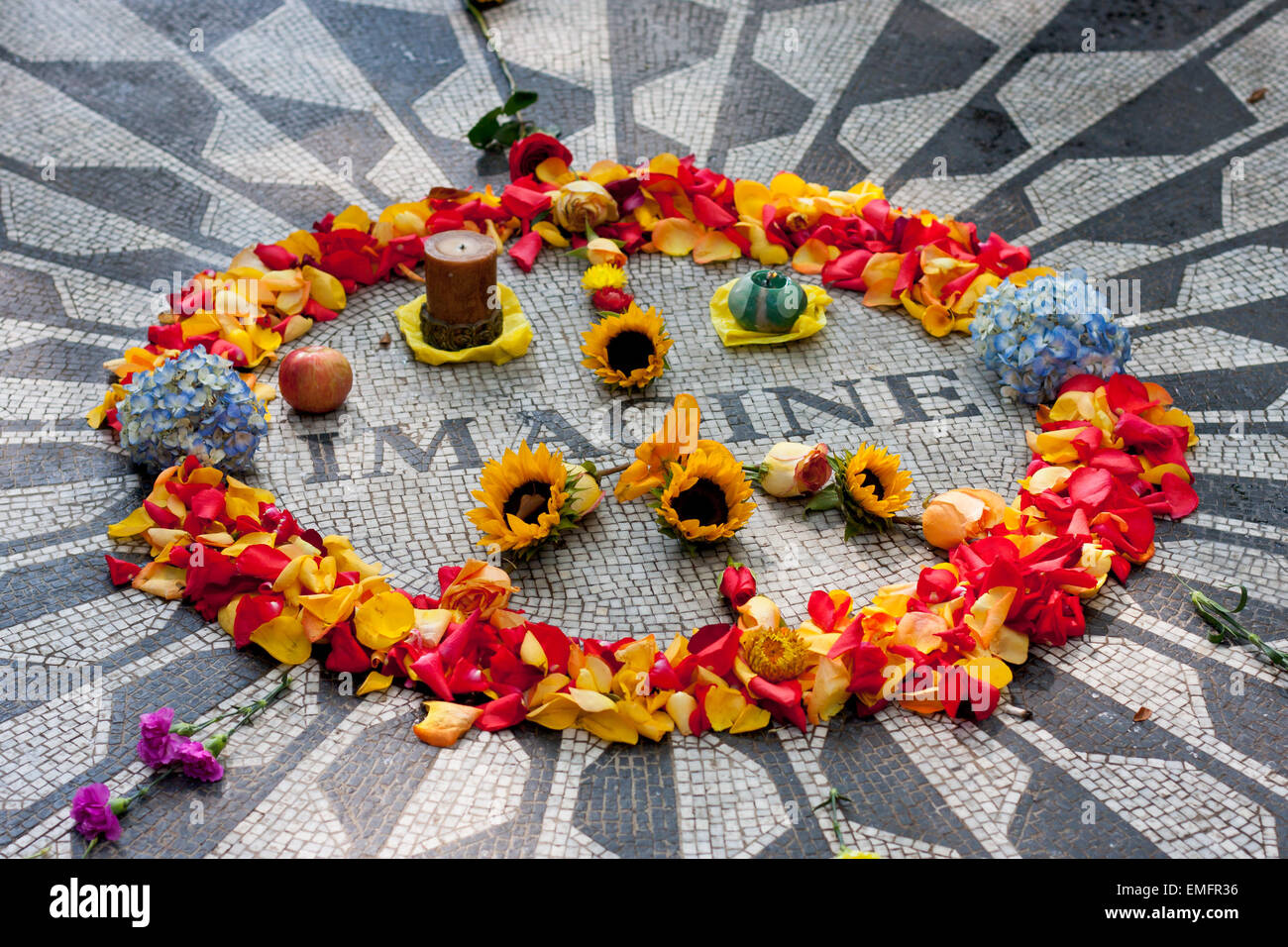 Imagine memorial to John Lennon in Strawberry Fields in Central Park - New York City in October 2008 - Stock Image
