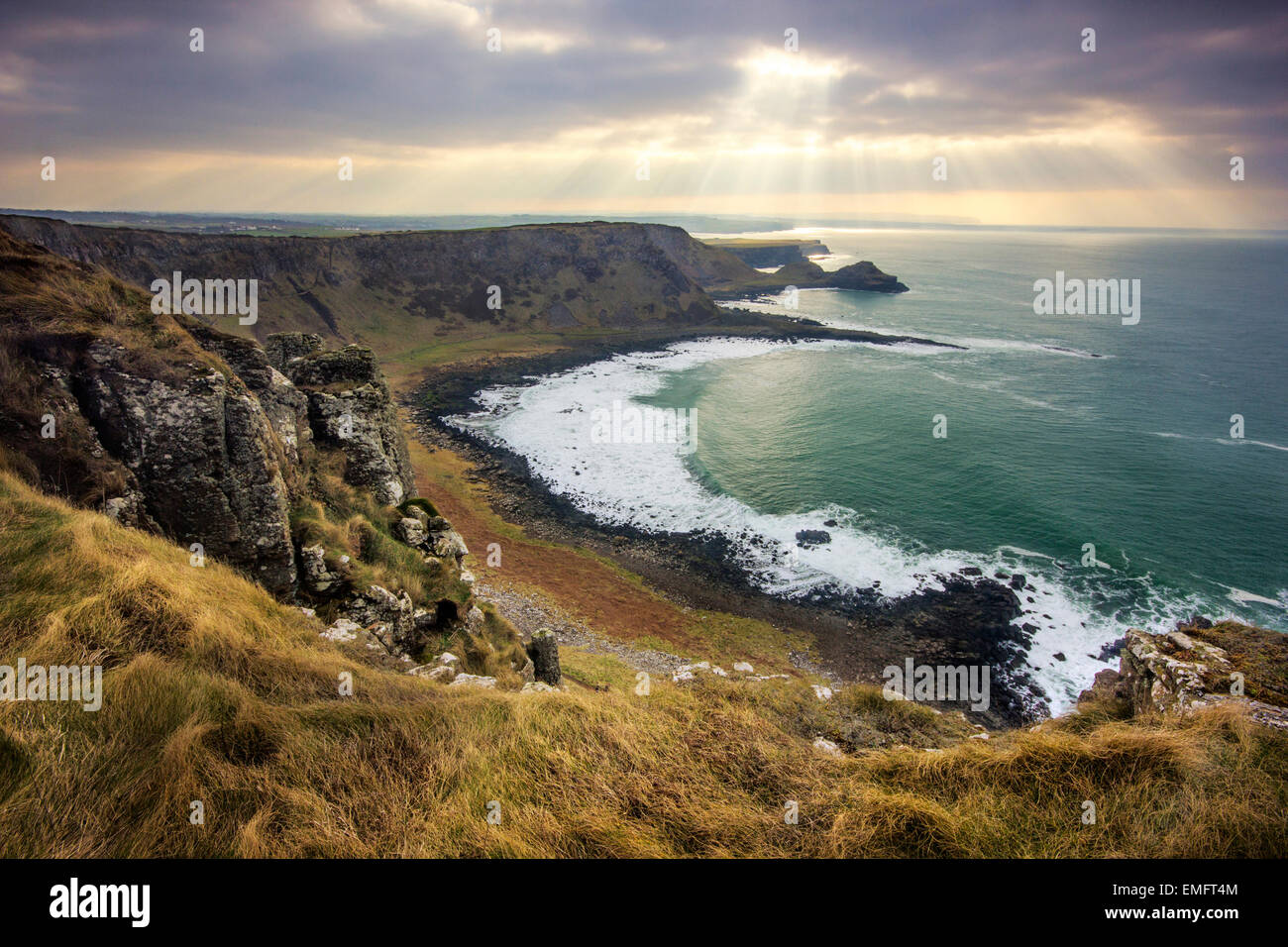 Cliff top path over the Giant's Causeway, Co. Antrim, Northern Ireland Stock Photo