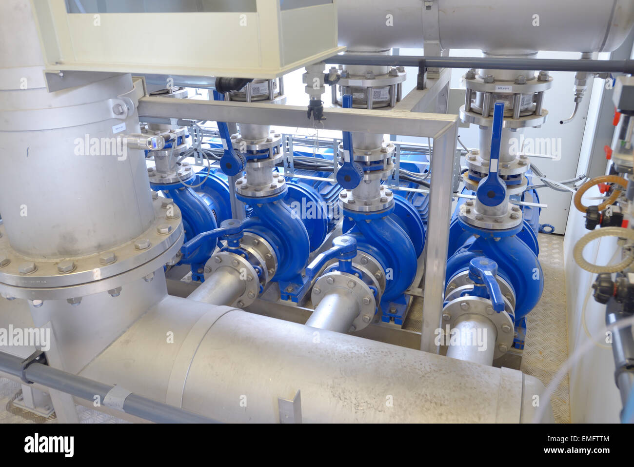 Water purification filter equipment in plant - Stock Image