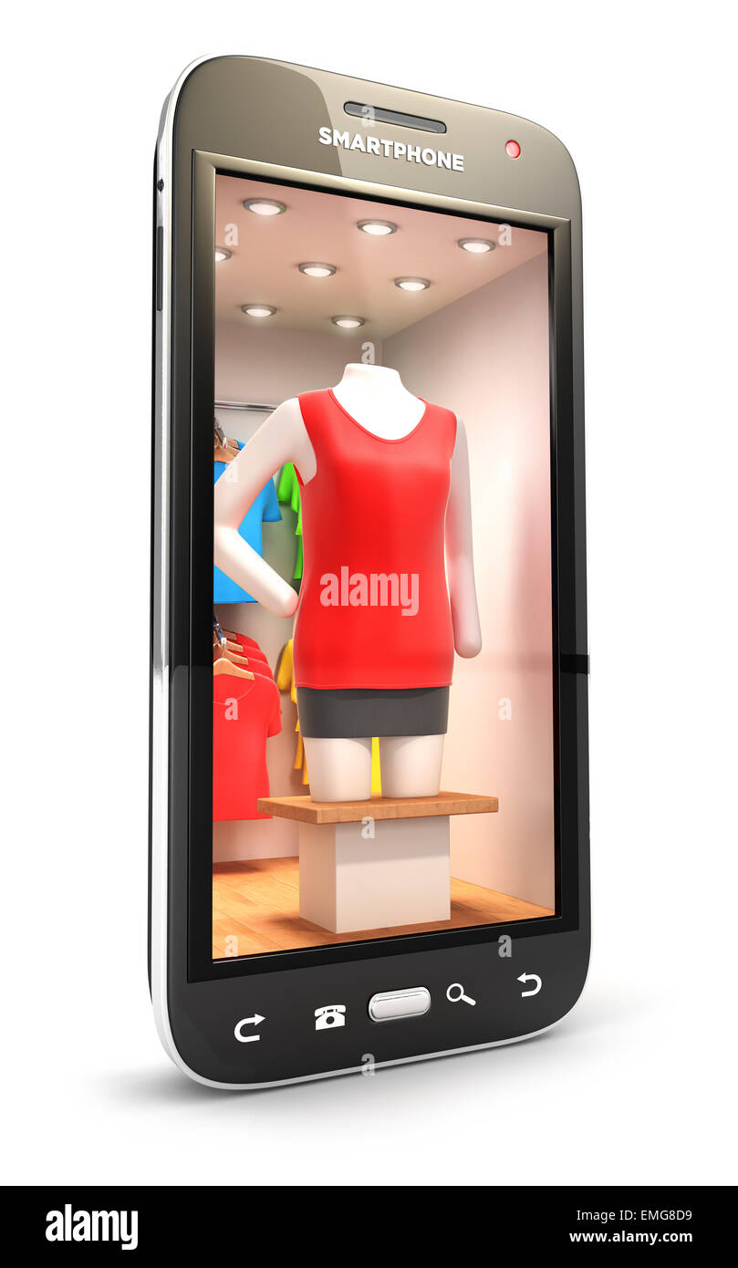 3d clothes shop inside smartphone, isolated white background, 3d image Stock Photo