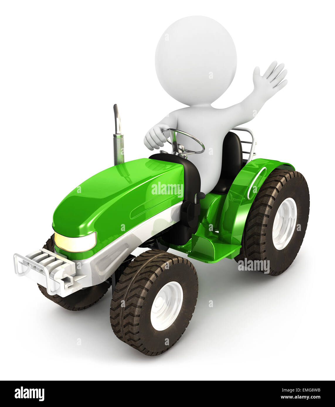 3d white people tractor, isolated white background, 3d image Stock Photo