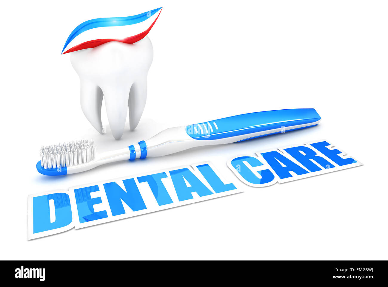 3d dental care concept, isolated white background, 3d image Stock Photo