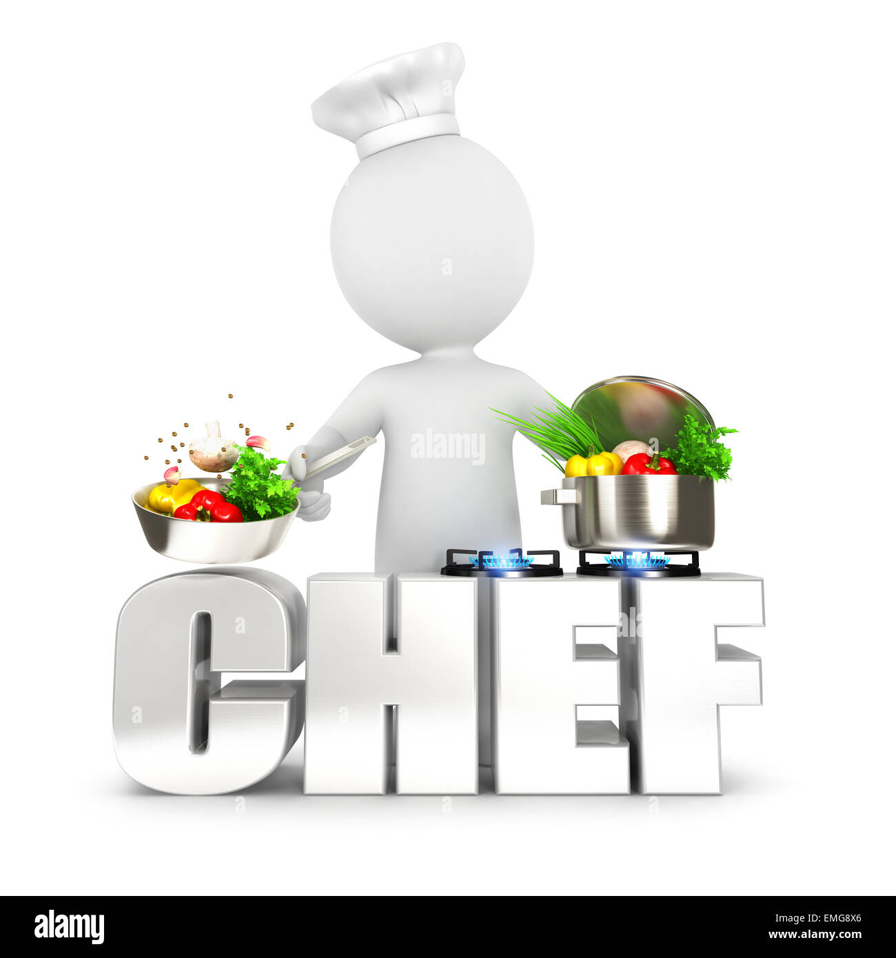 3d white people chef, isolated white background, 3d image Stock Photo