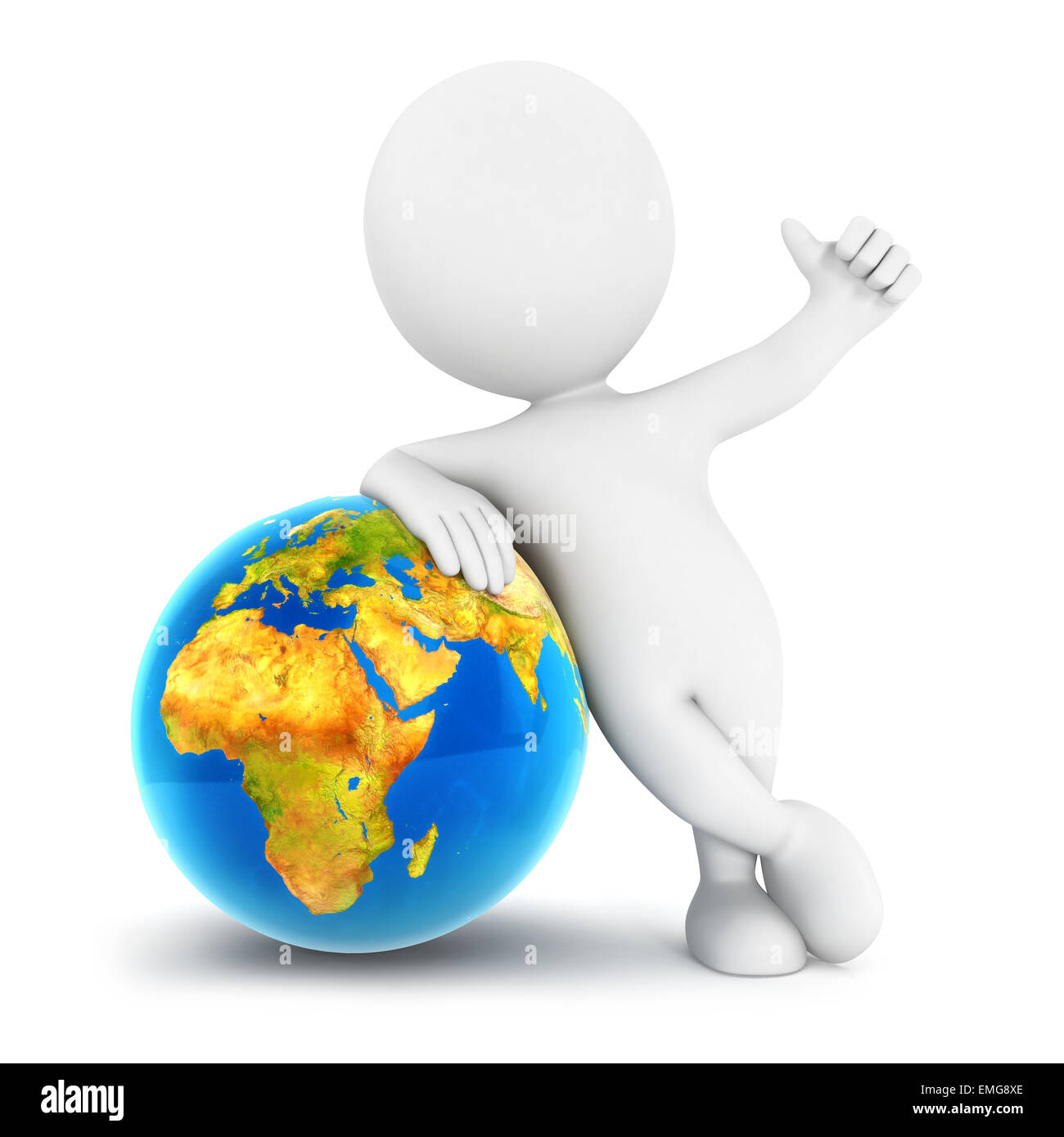 3d white people earth, isolated white background, 3d image Stock Photo