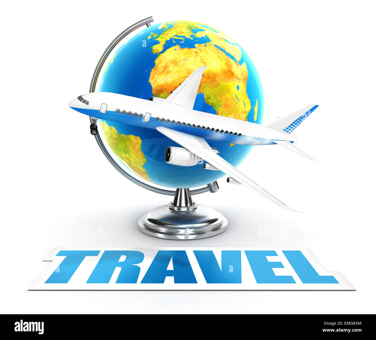 3d travel word concept, isolated white background, 3d image Stock Photo