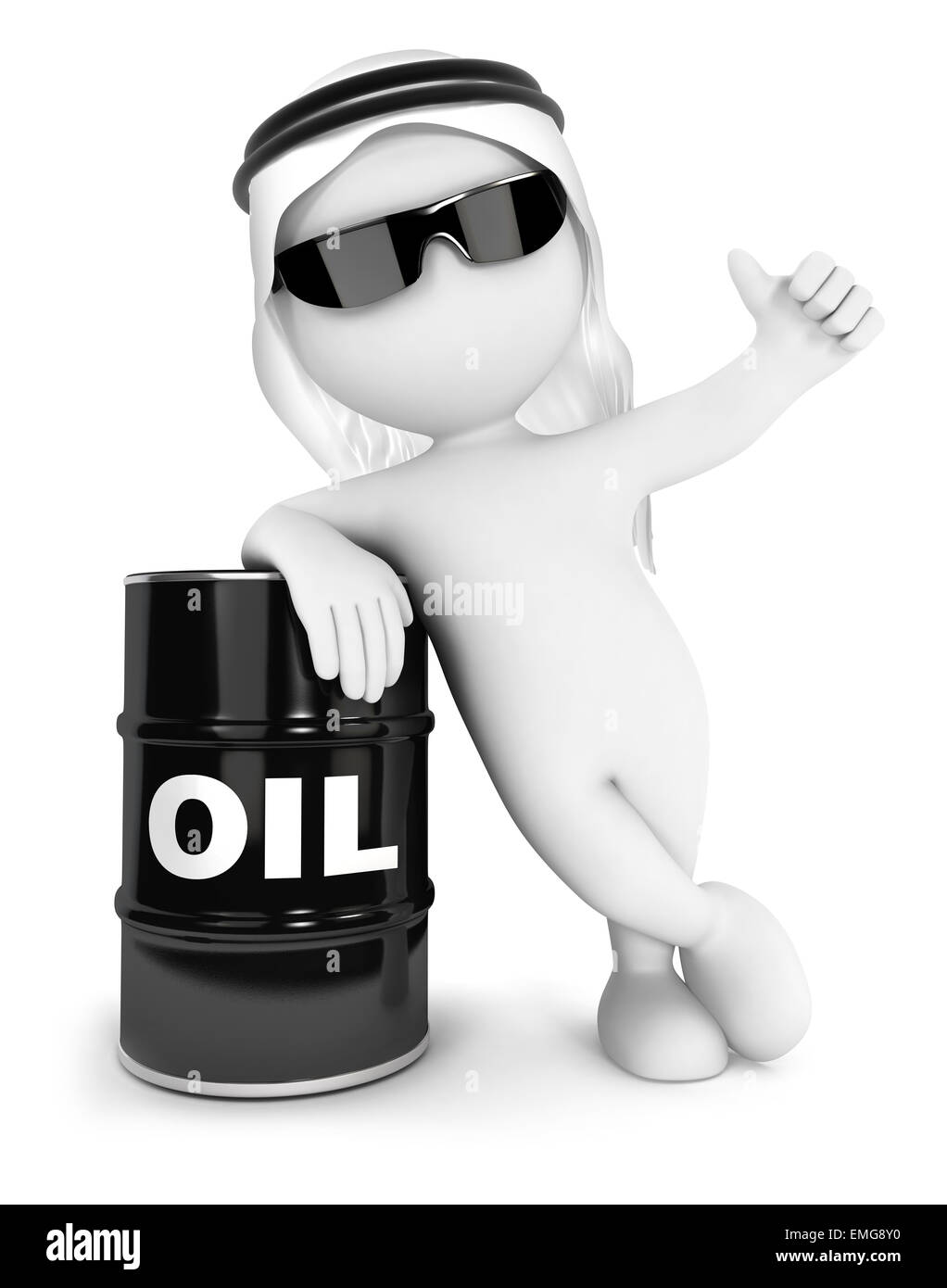 3d white people emir with a barrel of oil, isolated white background, 3d image Stock Photo