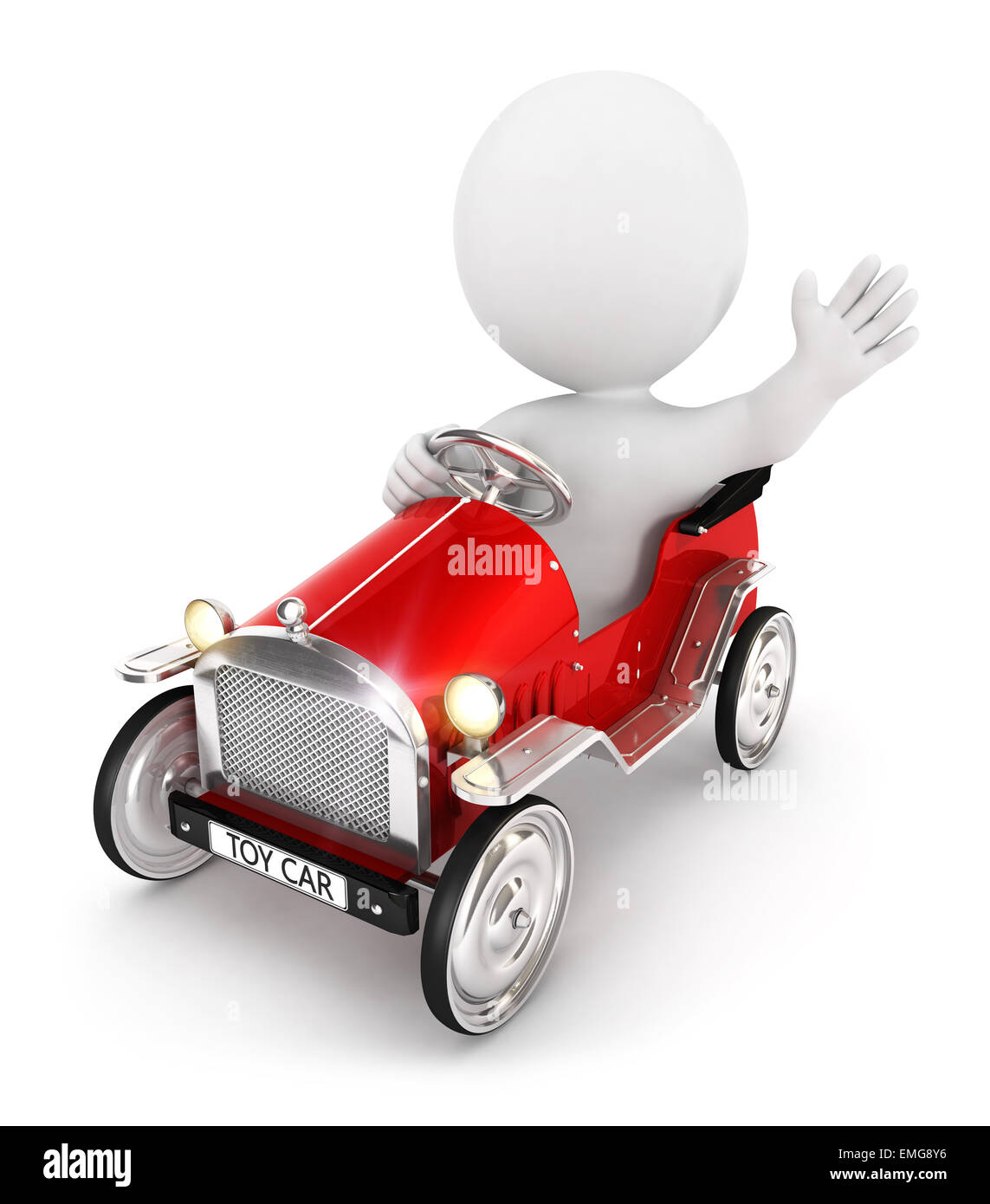 3d white people toy car, isolated white background, 3d image Stock Photo