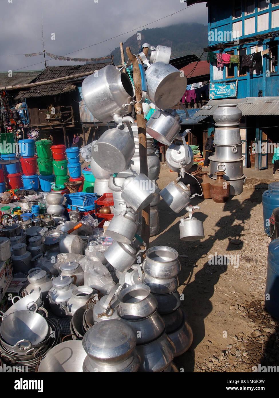 Pots Pans Kettles Market Village Buy Sell Lukla Nepal Asia - Stock Image
