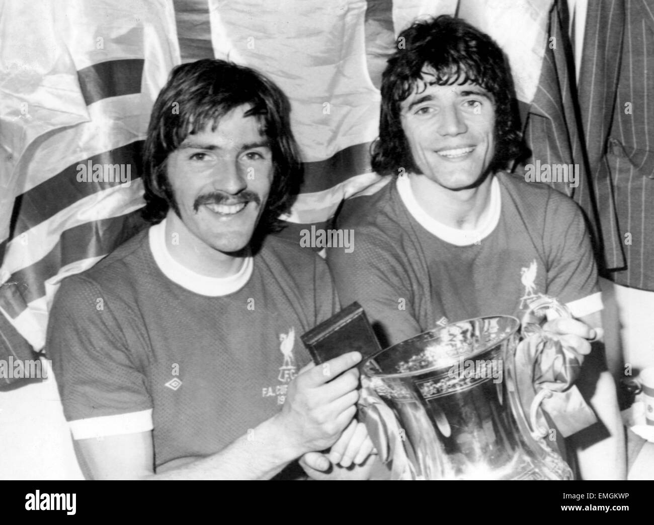 1974 FA Cup Final at Wembley. Steve Heighway and Kevin Keegan with the FA Cup after Liverpool had beaten Newscatle - Stock Image