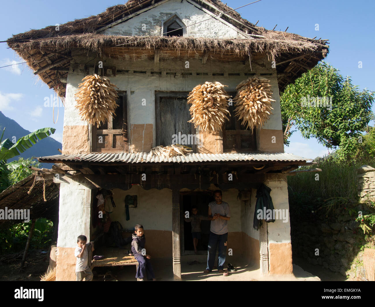 Traditional Nepalese Family House Lukla Nepal Asia - Stock Image