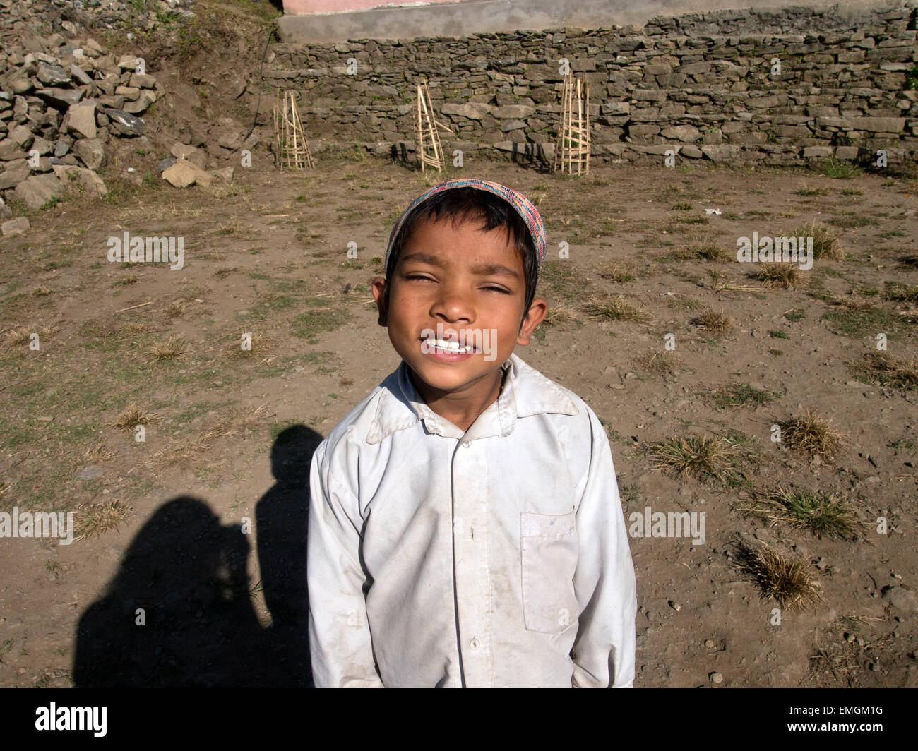 Young Boy Primary School Age Smiling Lukla Nepal Asia - Stock Image