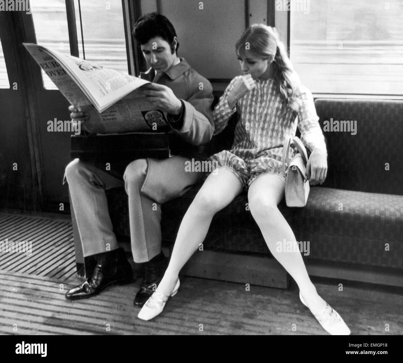 Model Jany Lewis seen here wearing a Hildebrand bloomers outfit on the circle line. 8th February 1967 - Stock Image