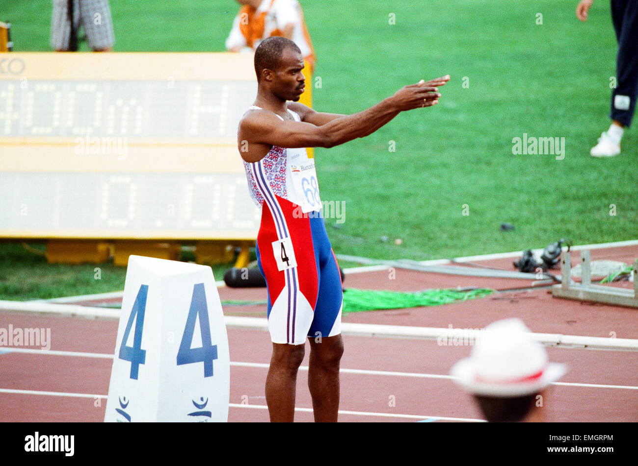 1992 Olympic Games in Barcelona, Spain. Mens 400 Metres Hurdles. Great Britain's Kriss Akabusi. 2nd August 1992. - Stock Image
