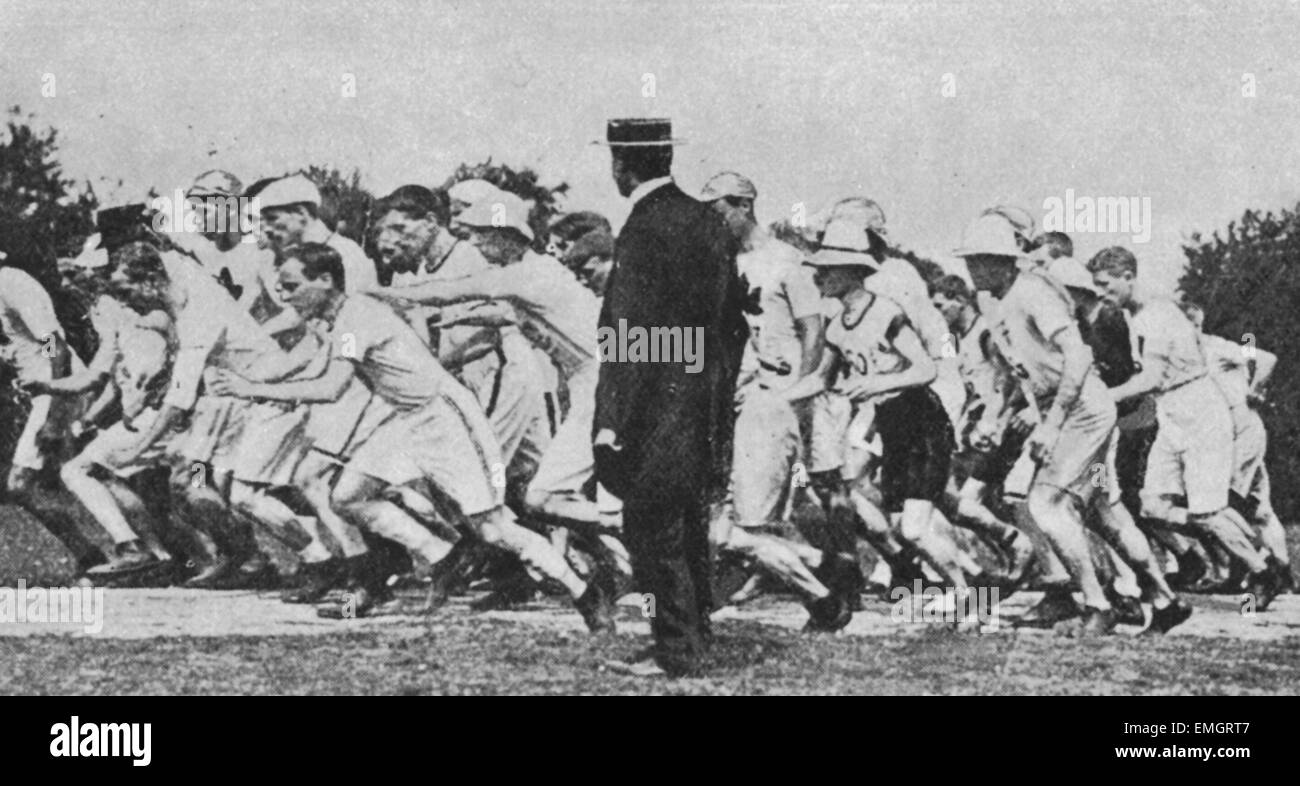 The start of the 1908 Olympic Marathon at Windsor Castle 24 July 1908 - Stock Image