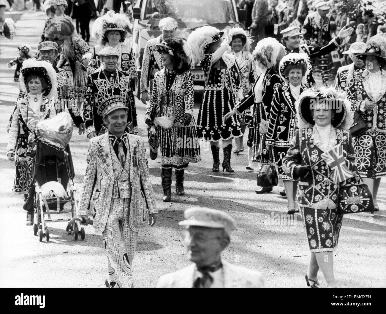Pearly Kings and Queens seen here marching in the 1985 Battersea Easter Parade. 7th April 1985 - Stock Image