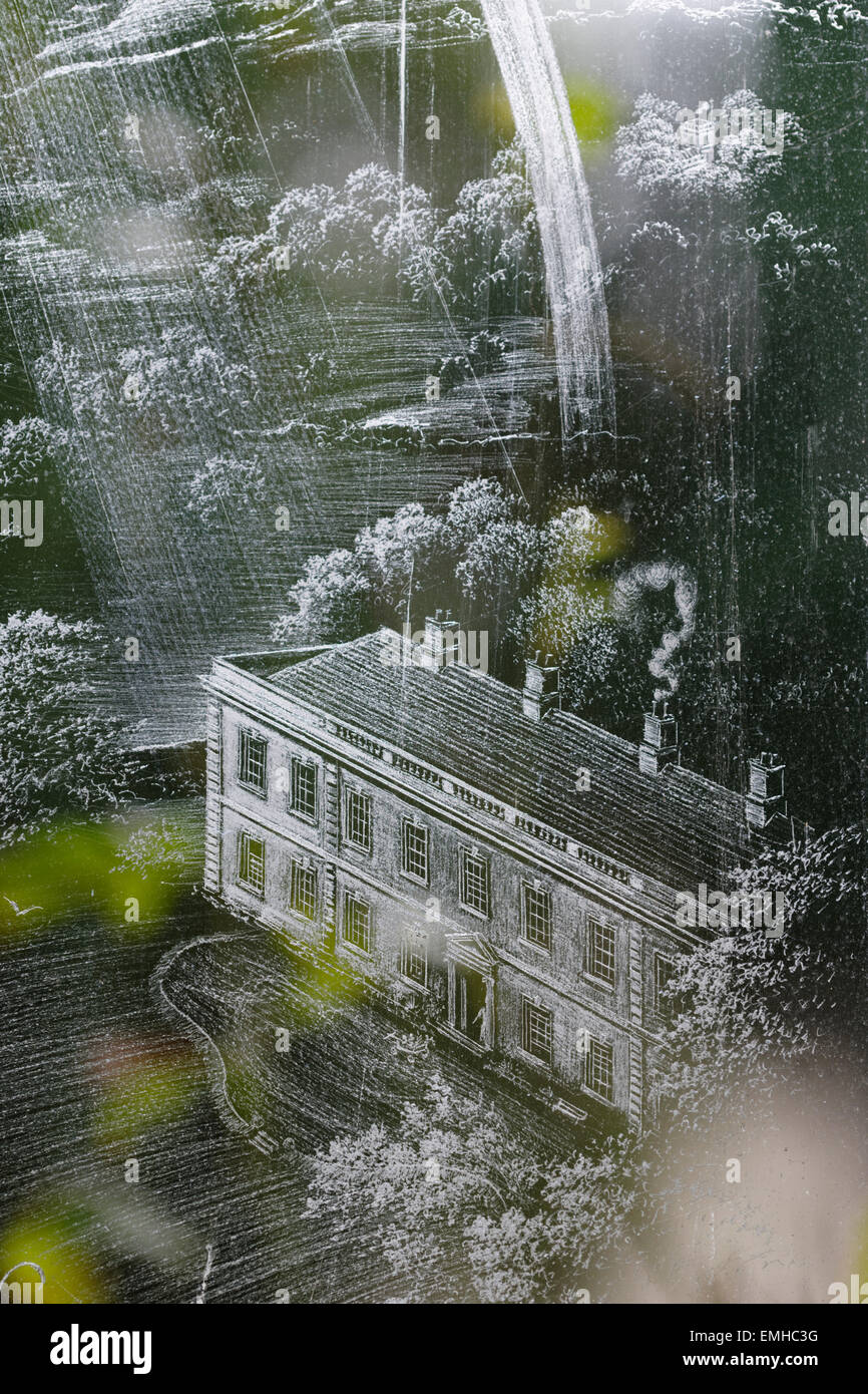 Dalemain House (portrait view),  etched on glass in a memorial window in St. Andrew's Church, Dacre, Cumbria, - Stock Image