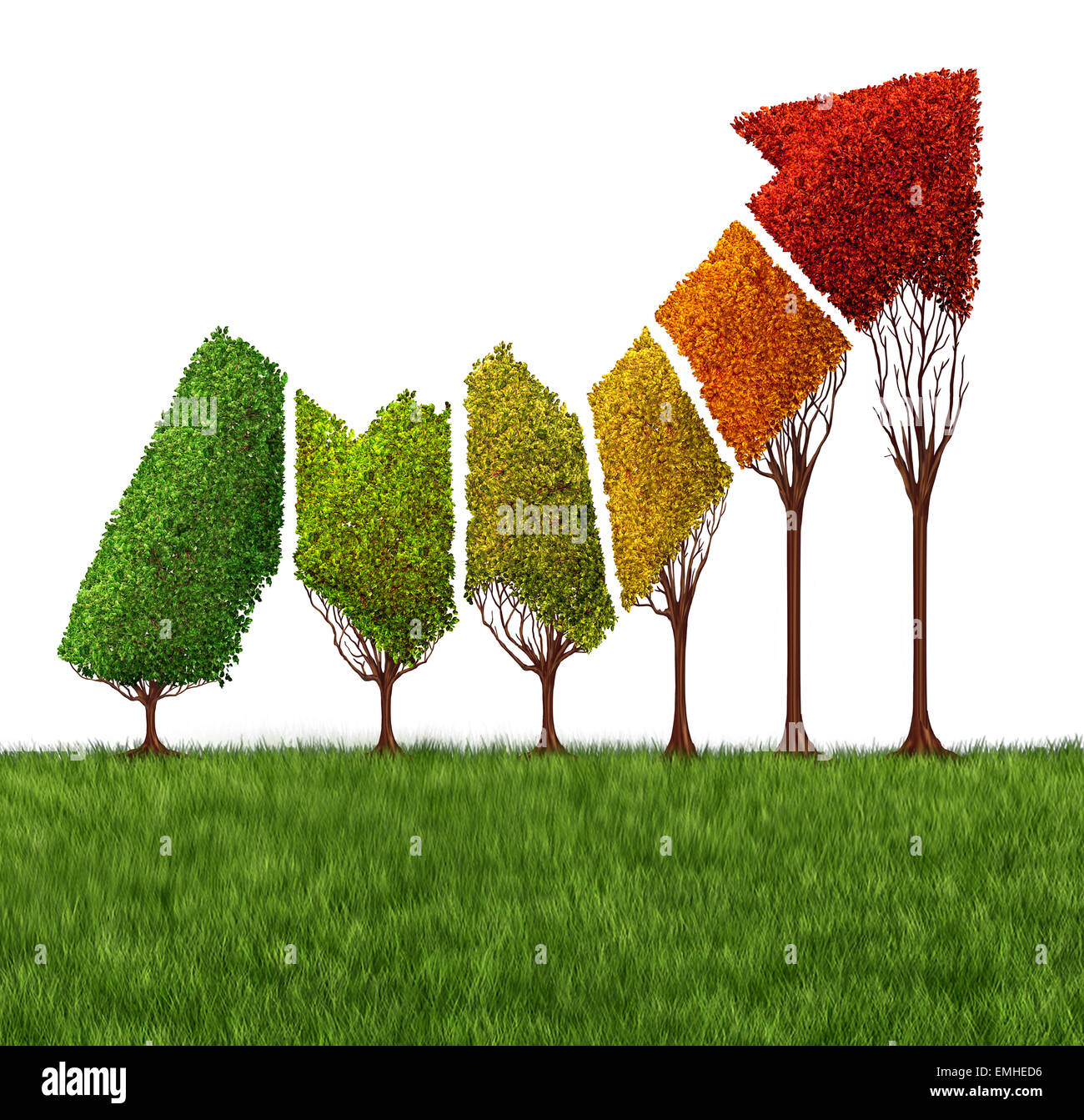 Annual financial report concept and market maturity symbol as a group of trees shaped as a profitable stock market - Stock Image
