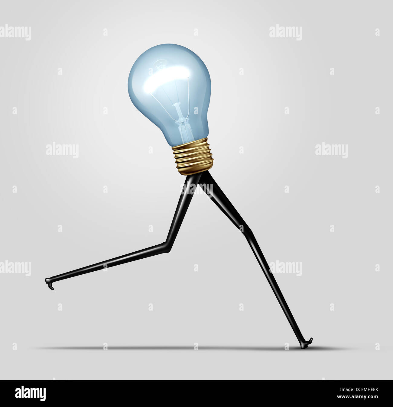 Creative energy and quick thinking business concept as a glowing bright light bulb with long legs running fast as - Stock Image
