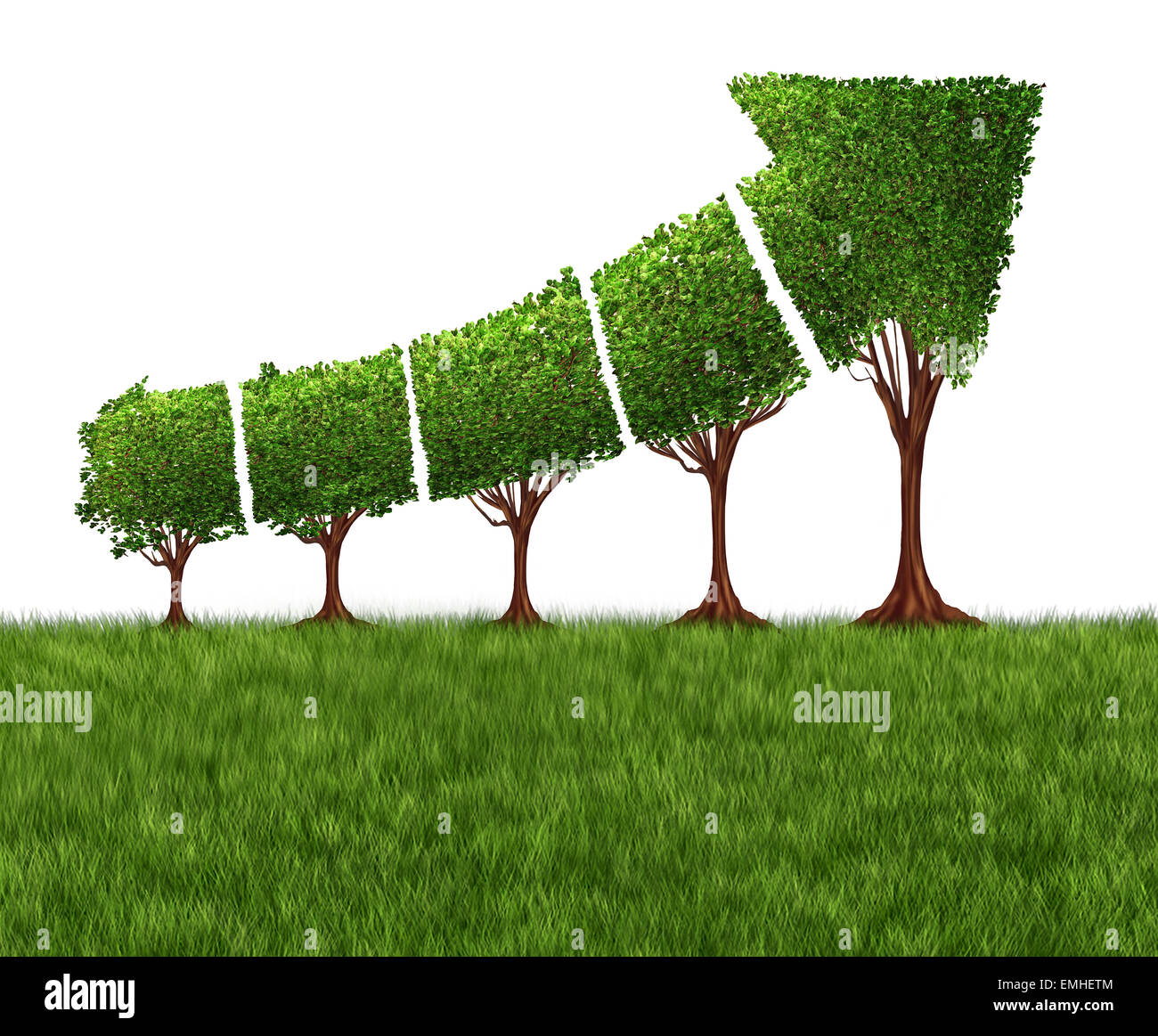 Economic graph chart and eco or ecological development concept as a group of trees coming together in the shape - Stock Image