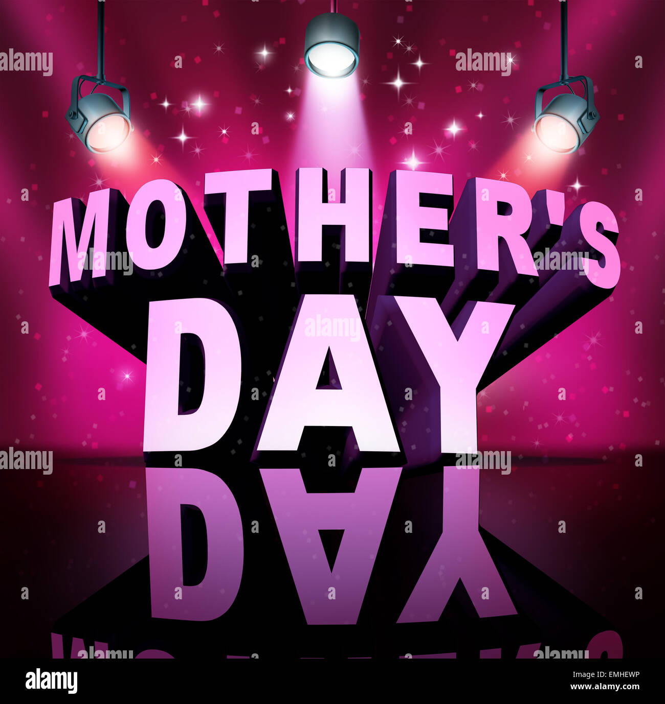 Happy Mothers's day text as three dimensional letters on a stage with bright spot lights as a month of May holiday - Stock Image