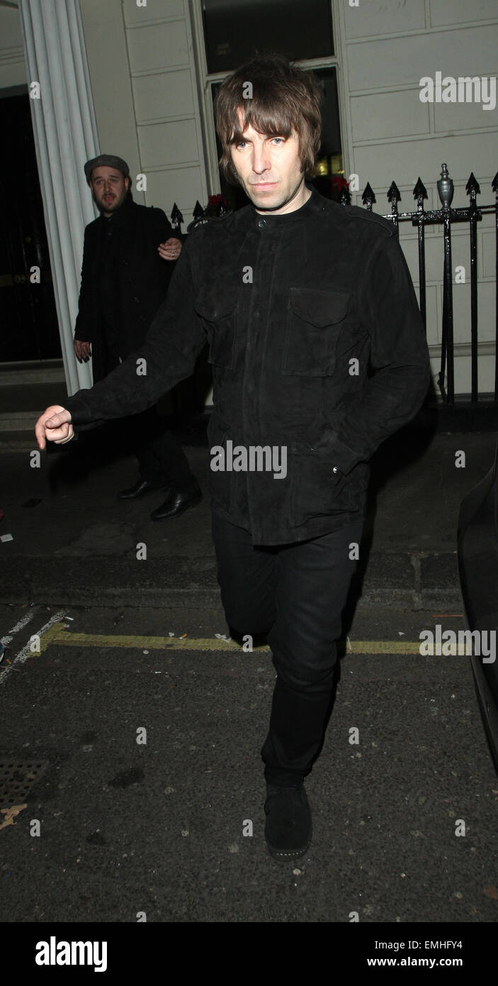 07.JANUARY.2013. LONDON  LIAM GALLAGHER LEAVING THE ARTS CLUB, LONDON - Stock Image