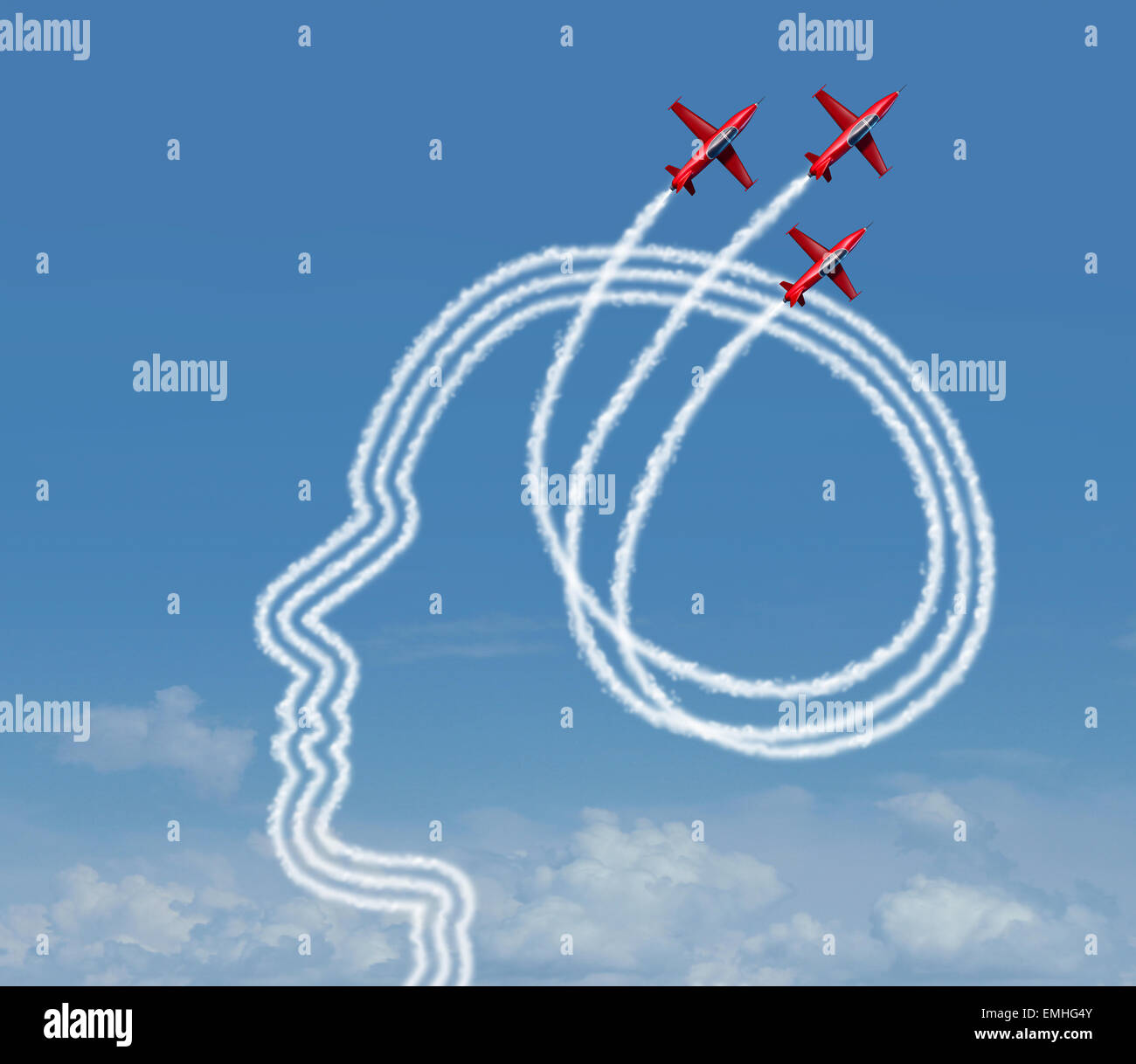 Personal achievement and career aspiration concept as a group of acrobatic jet airplanes performing an air show - Stock Image