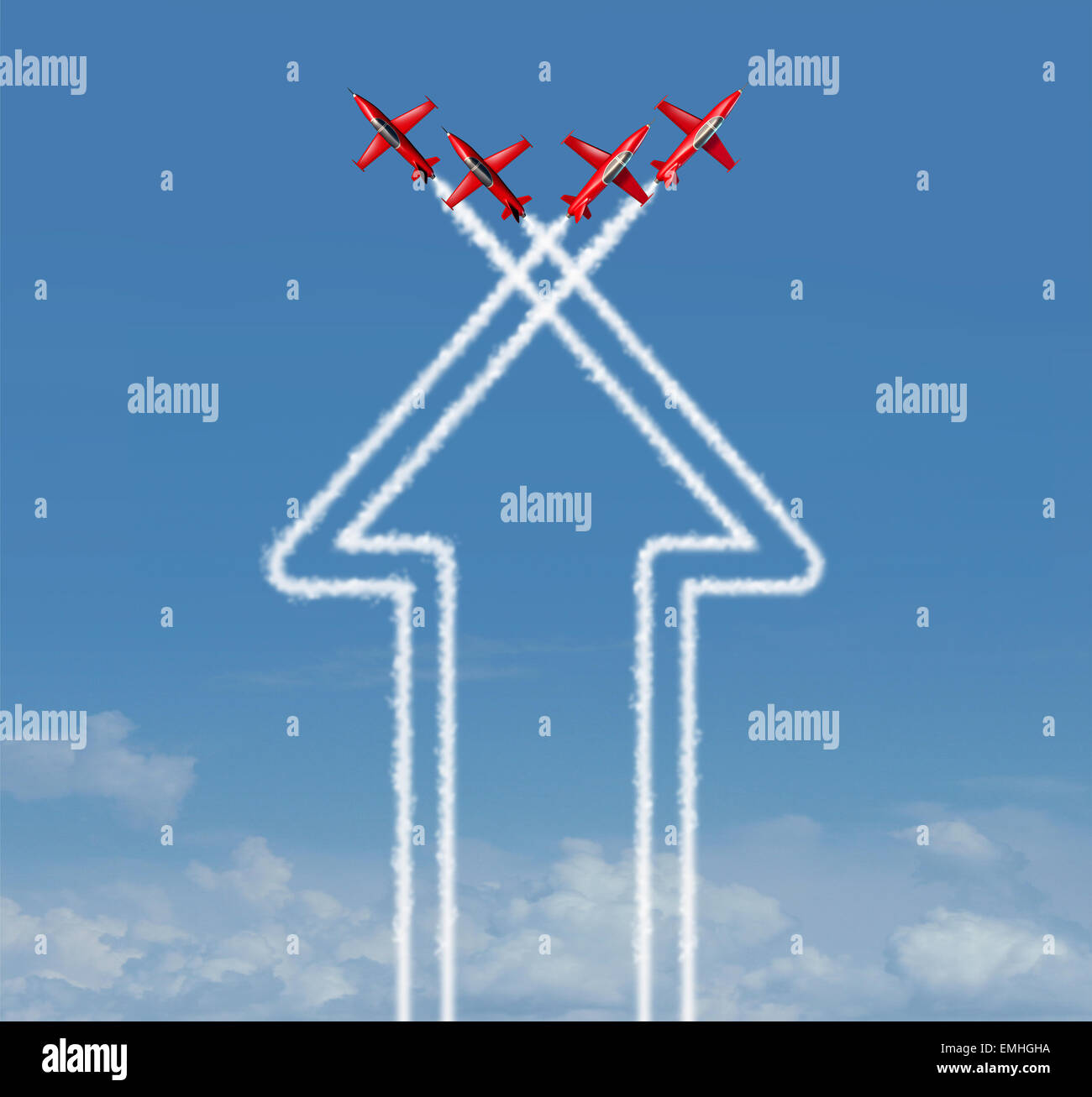 Organization concept as an up arrow symbol and icon for success made from an organized group of flying jet airplanes - Stock Image