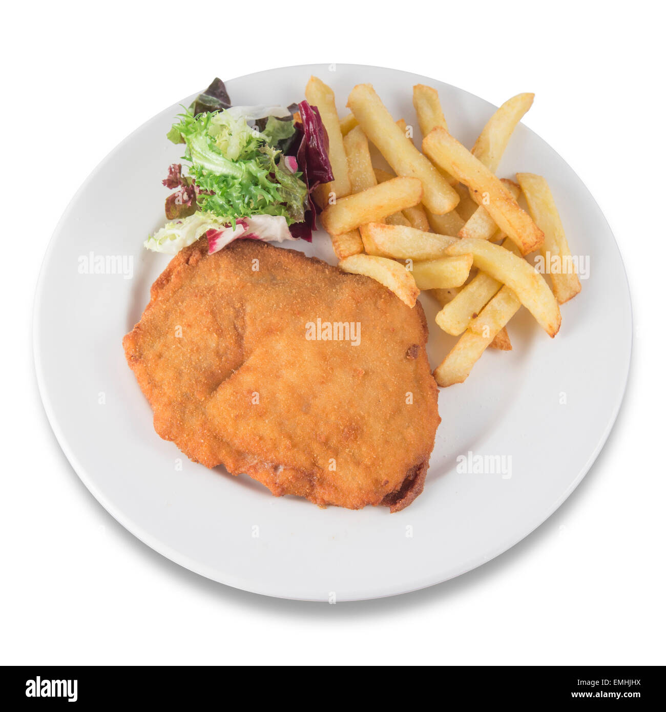 breaded steak with potatoes and salad - Stock Image
