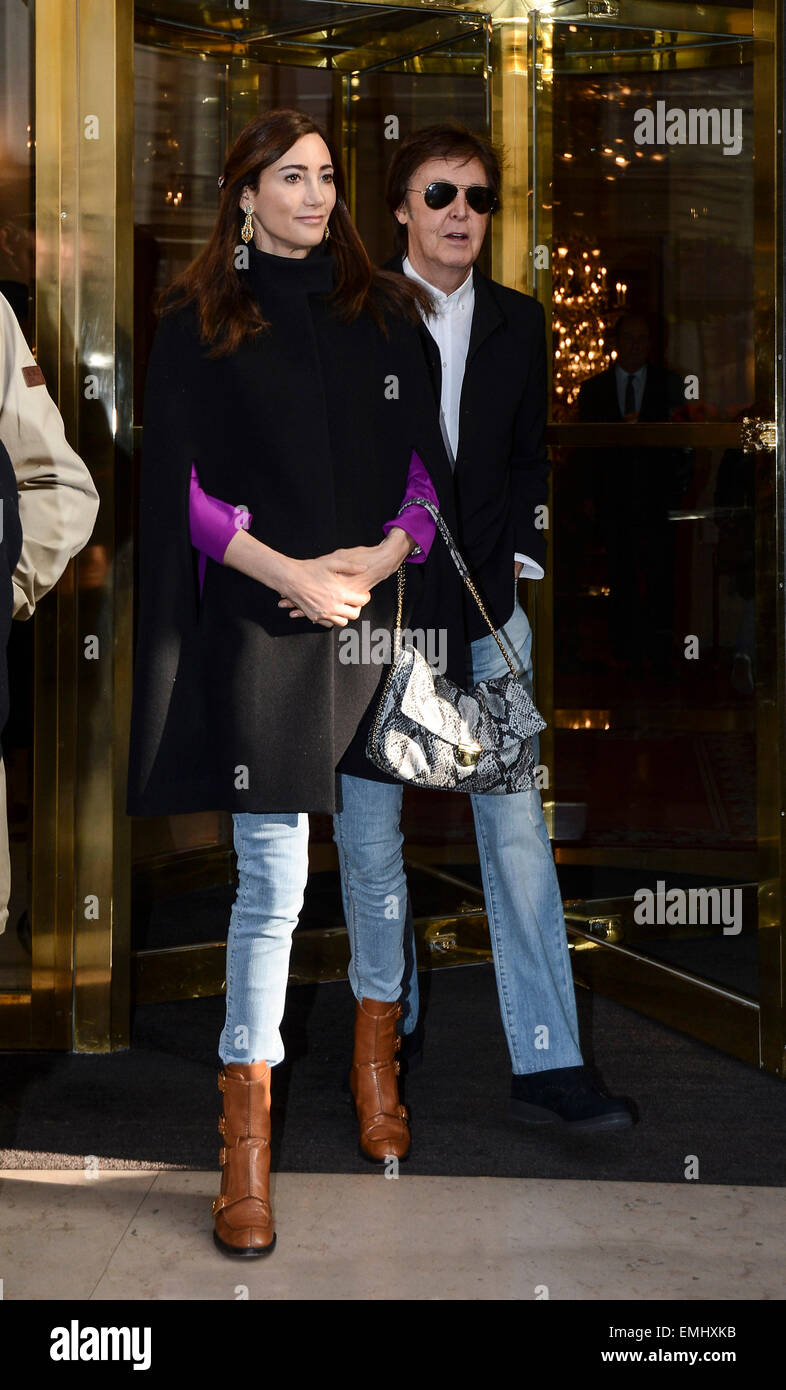 PARIS SIR PAUL MCCARTNEY AND HIS WIFE NANCY SHEVELL ARE SEEN LEAVING THE HOTEL BRISTOL HEADING TO STELLA MCCARTNEYS FALL WINTER 2013 2014