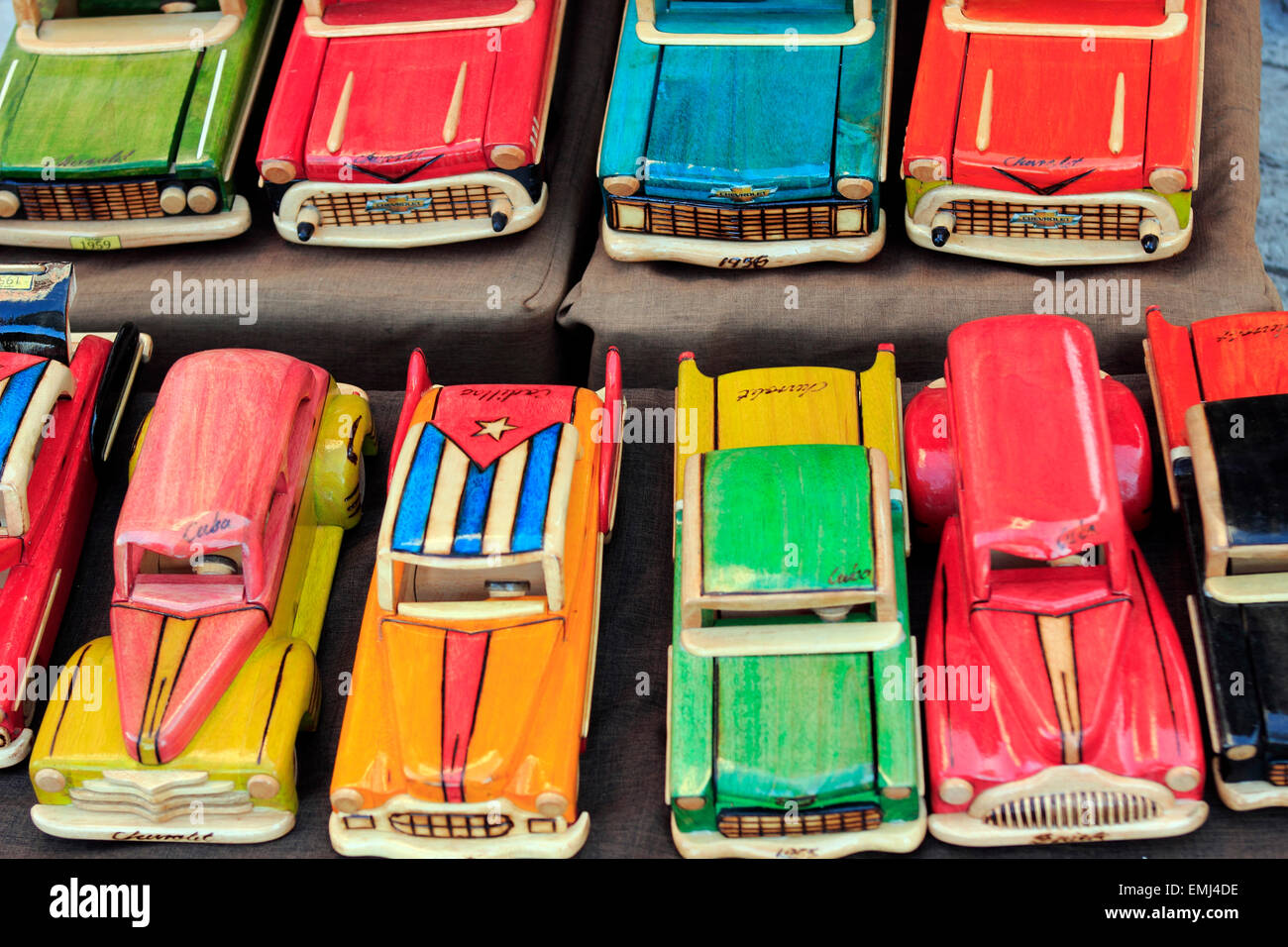 Artist made models of 1950's era American cars common in Cuba Cienfuegos Cuba - Stock Image